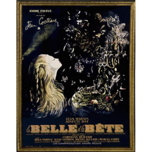 "TFTM Melrose | Antique Art | Large Original Jean Cocteau ""La Belle et la Bete"" Framed Poster"