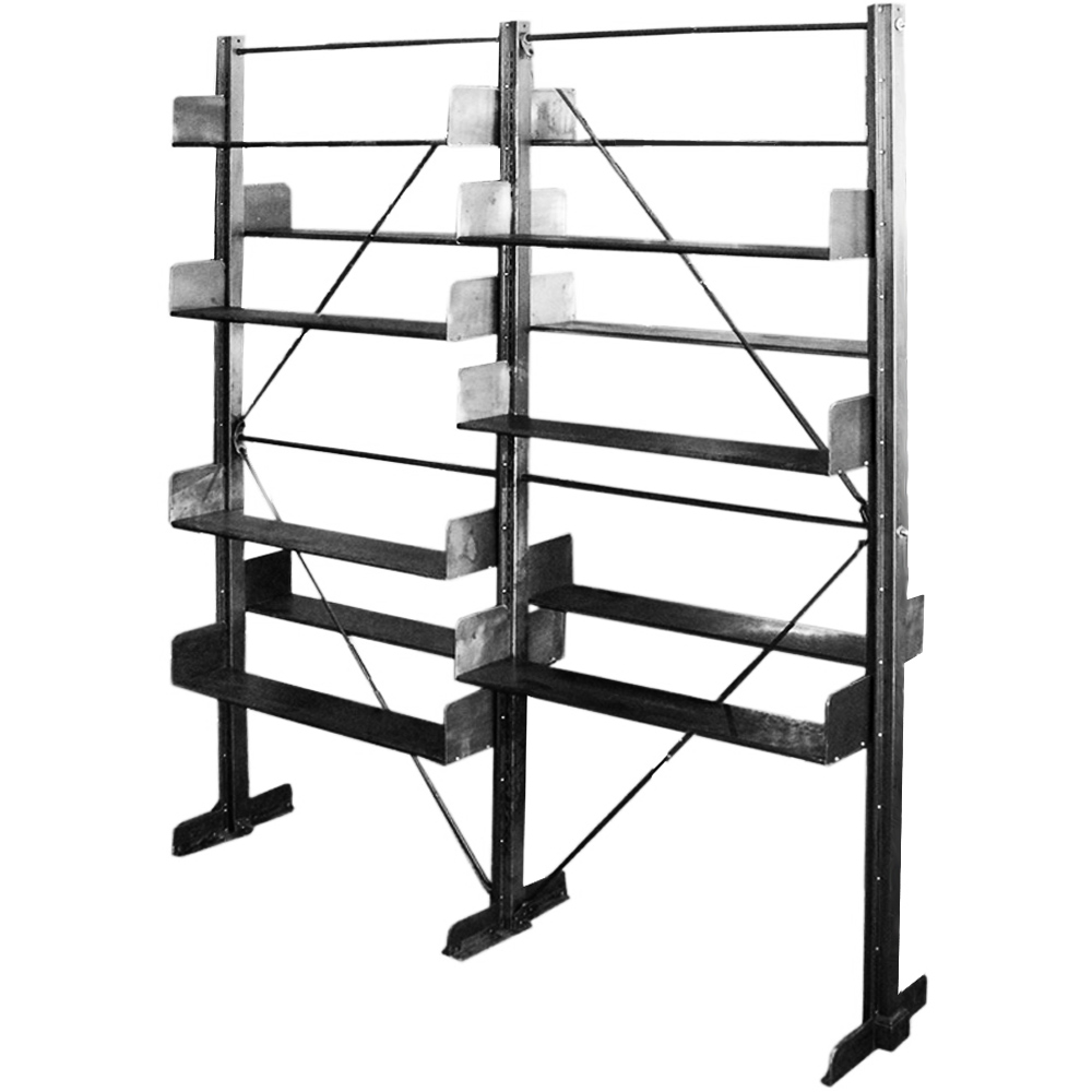Industrial 1912 Library Freestanding Steel Bookshelf