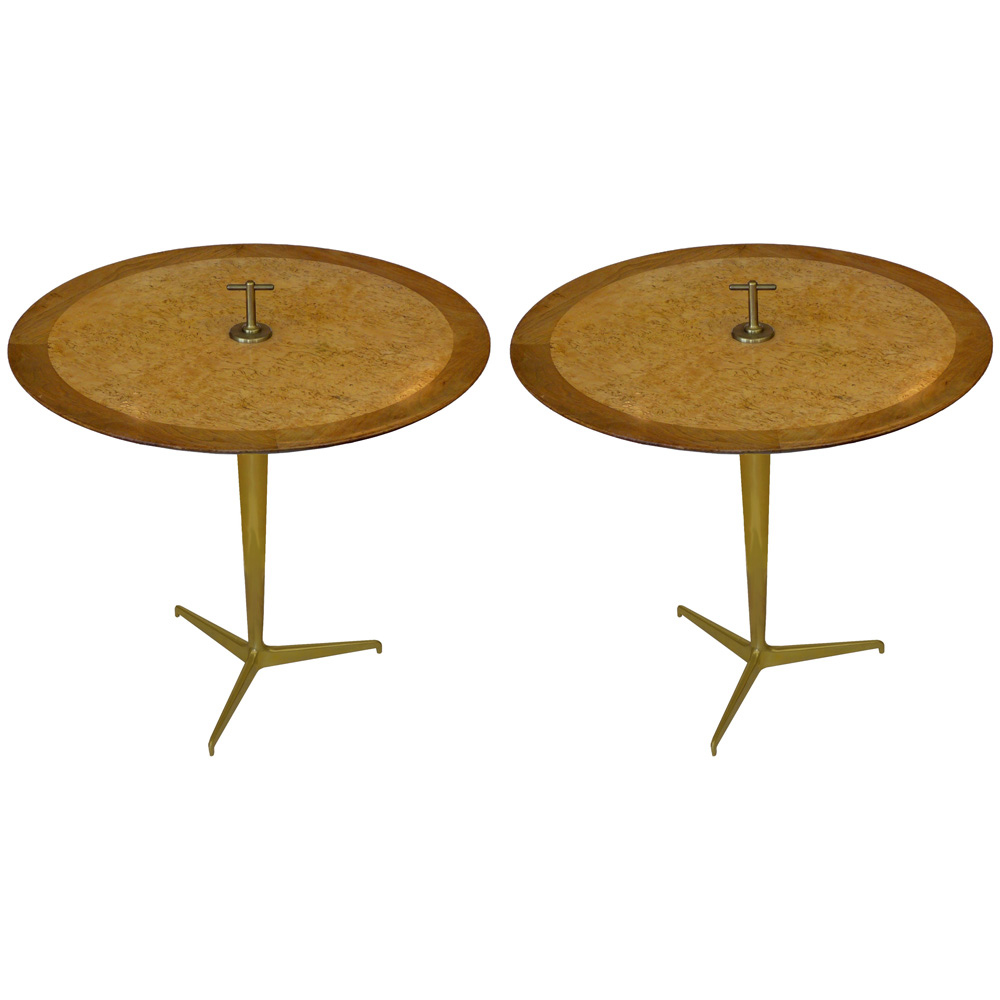 pair of snack tables by edward wormley for dunbar tftm. Black Bedroom Furniture Sets. Home Design Ideas