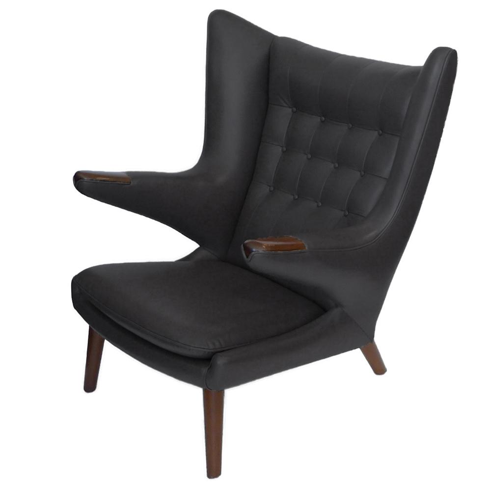 Early Hans Wegner Papa Bear Chairs / Ottomans In Slate Leather Pr.    TFTM  Melrose