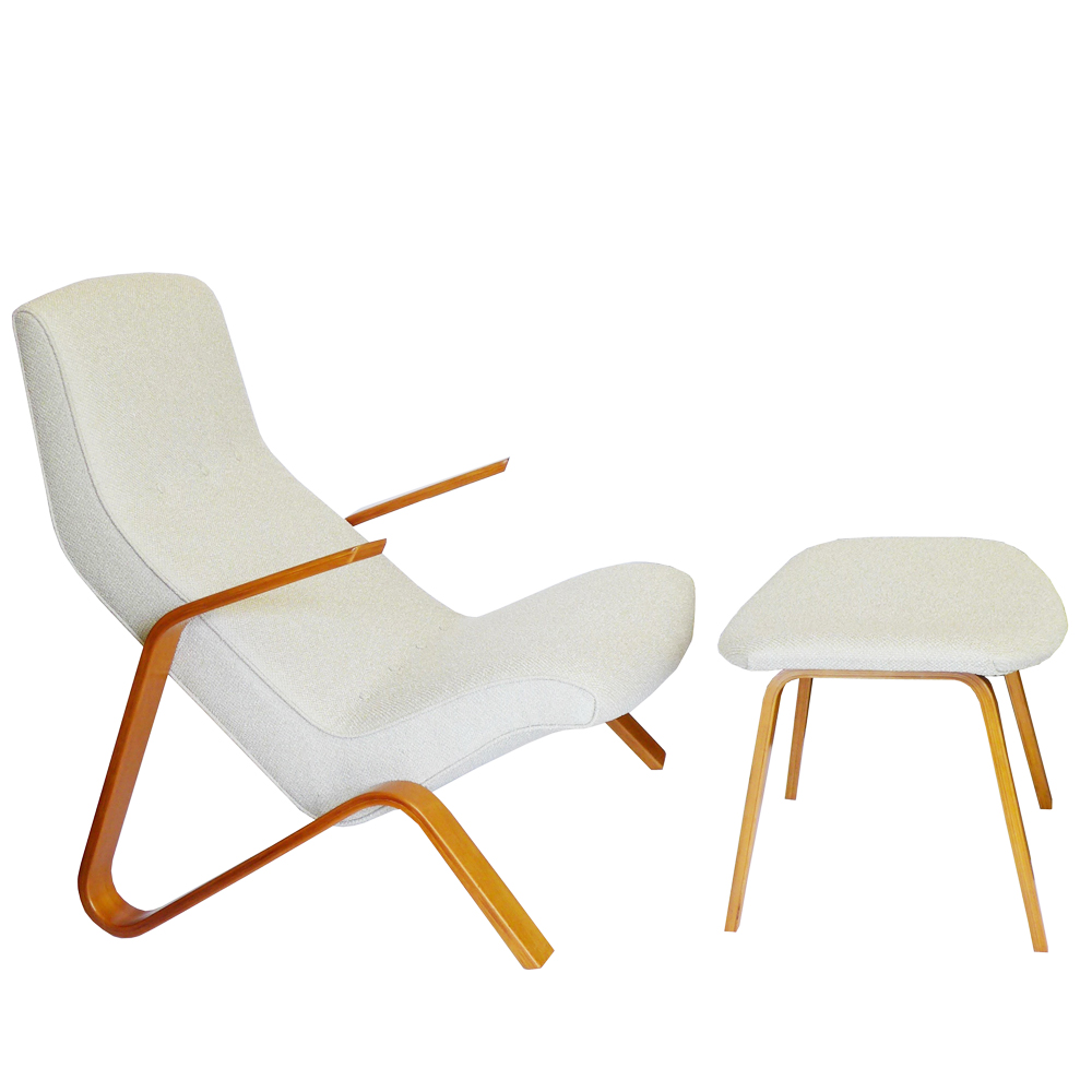 Early eero saarinen grasshopper chair ottoman knoll for Knoll associates